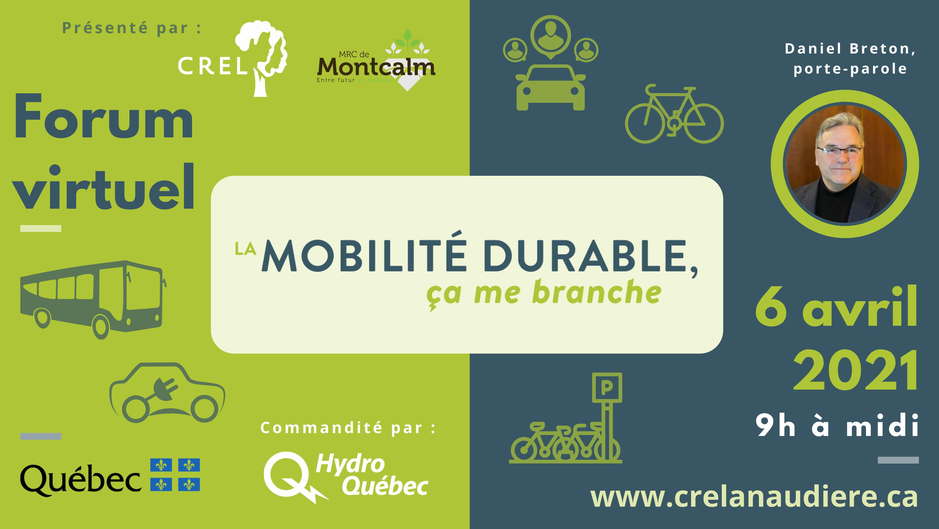 Forum virtuel - La mobilité durable, ça me branche - 6 avril 2021